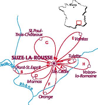 Routekaartje Suze-la-Rousse
