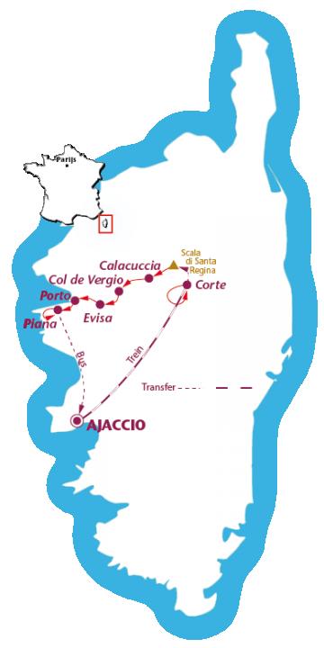 Routekaartje Corsica