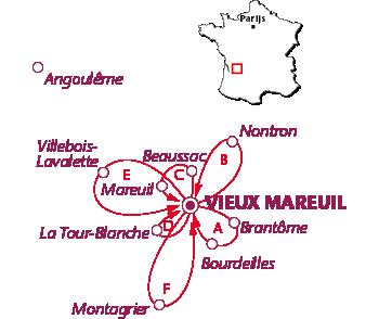 Routekaartje Vieux Mareuil
