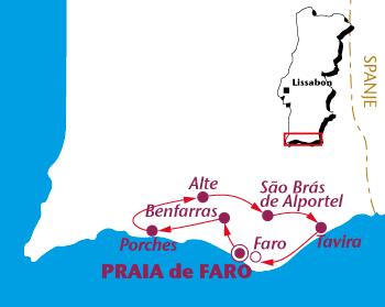 Routekaartje Algarve