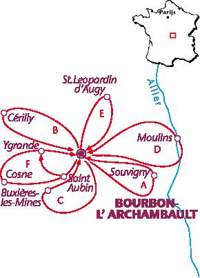 Routekaartje Bourbon - l'Archambault
