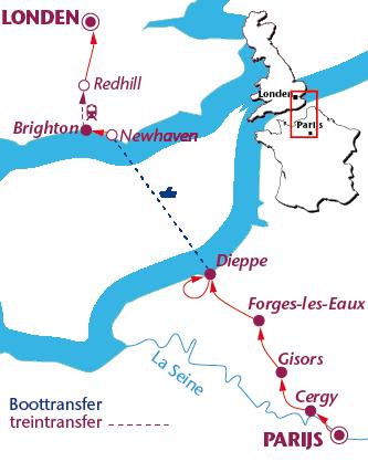 Routekaartje Van Parijs naar Londen