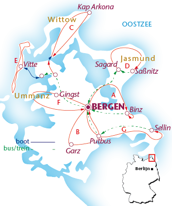 Routekaartje Bergen auf Rügen