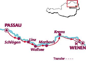 Routekaartje Donauradweg,  pensions van Passau naar Wenen