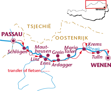 Routekaartje Donauradweg, Langzaam van Passau naar Wenen
