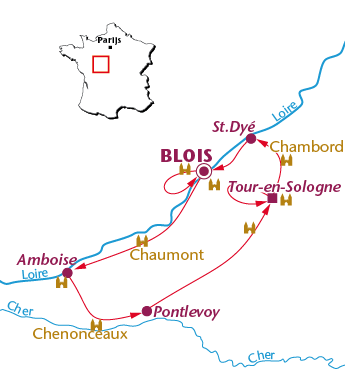Routekaartje Loire Kastelen