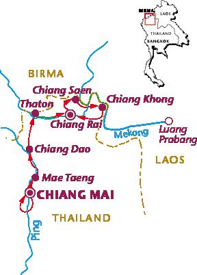 Routekaartje Noord-Thailand