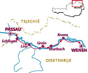 Routekaartje Donauradweg, hotels en goede hotels van Passau naar Wenen