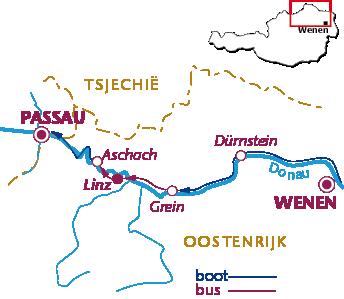 Routekaartje Donauradweg, MS Kaiserin Elisabeth
