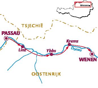 Routekaartje Donauradweg, Sportief van Passau naar Wenen
