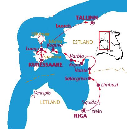 Routekaartje Letland en Estland