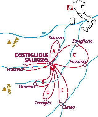 Routekaartje Costigliole Saluzzo