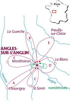 Routekaartje Angles-sur-l'Anglin