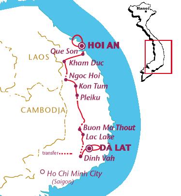 Routekaartje Vietnam