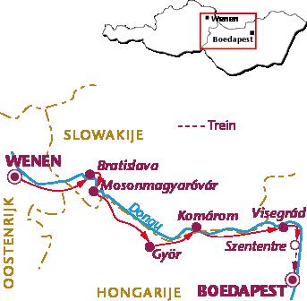 Routekaartje Donauradweg, Van Wenen naar Boedapest