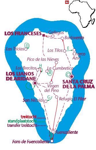 Routekaartje La Palma, trektocht