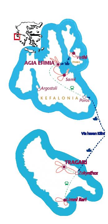 Routekaartje Combinatie Zakynthos en Kefalonia