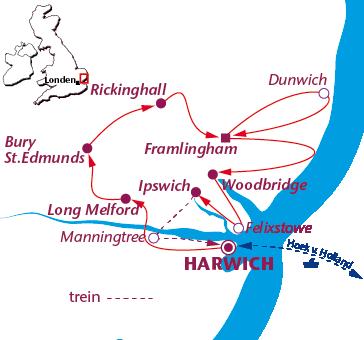 Routekaartje East-Anglia