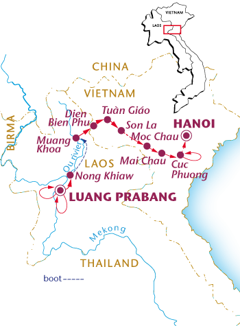 Routekaartje Van Luang Prabang naar Hanoi