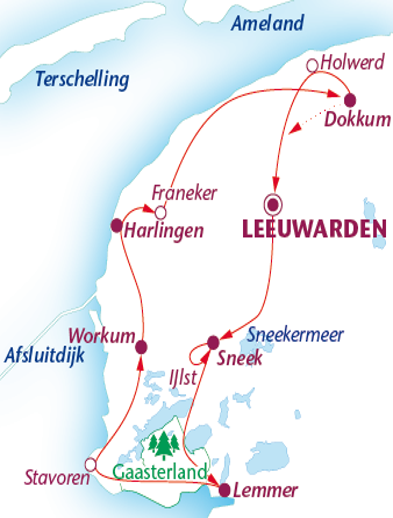 Routekaartje Friese steden en meren