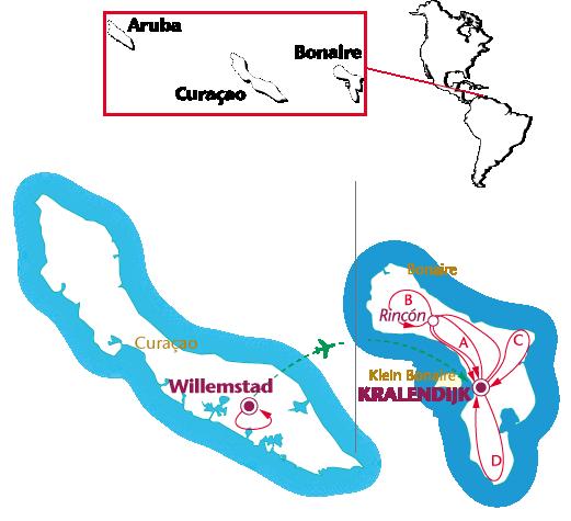 Routekaartje Curaçao en Bonaire
