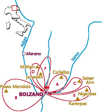 Routekaartje Bolzano voor wielrenners