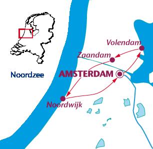 Routekaartje Noord-Hollandse Hoogtepunten
