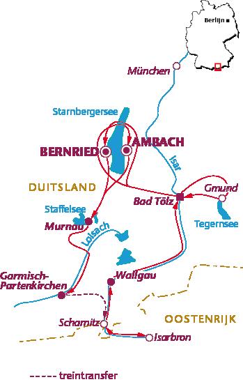 Routekaartje Zuid-Beieren