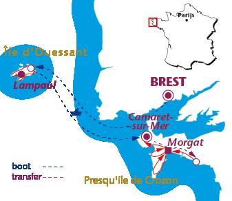 Routekaartje West-Bretagne