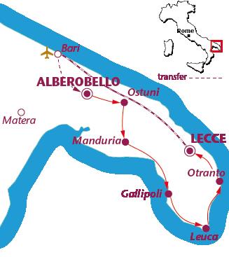 Routekaartje Puglia