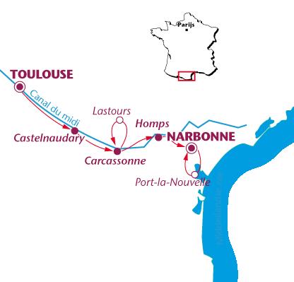 Routekaartje Canal du Midi