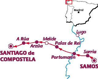 Routekaartje Van Samos naar Santiago de Compostela
