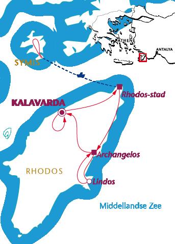 Routekaartje Rhodos Helios