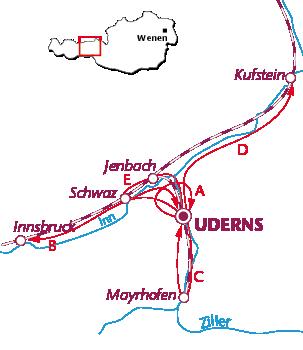 Routekaartje Zillertal fietsen