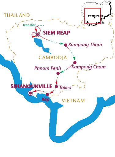 Routekaartje Cambodja