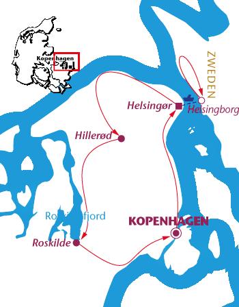 Routekaartje Denemarken