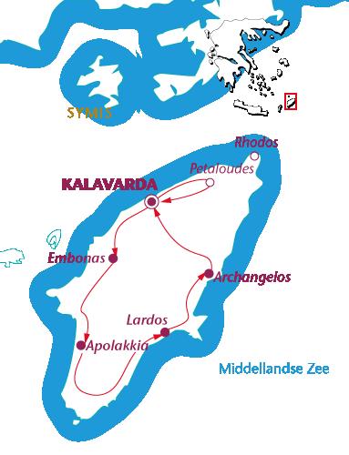 Routekaartje Rhodos Elafos