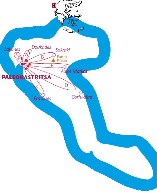 Routekaartje Corfu, Paleokastritsa