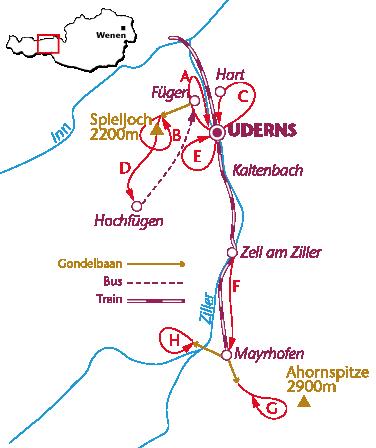 Routekaartje Zillertal wandelen