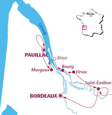 Routekaartje Bordeaux Grand Cru