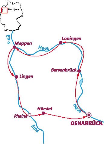 Routekaartje Langs de Hase-Ems