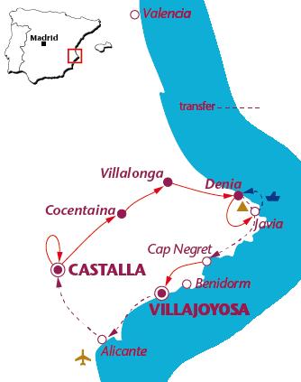 Routekaartje Alicante Via Verdes