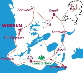 Routekaartje Gaasterland en Friese meren