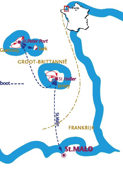 Routekaartje Jersey, Guernsey en Sark, Trein