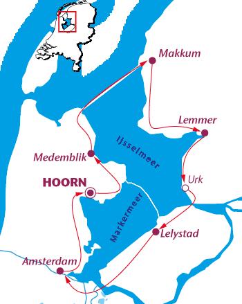Routekaartje Rond het IJsselmeer