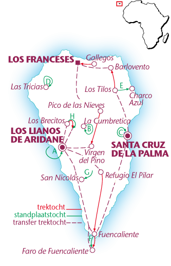 Routekaartje La Palma, standplaats