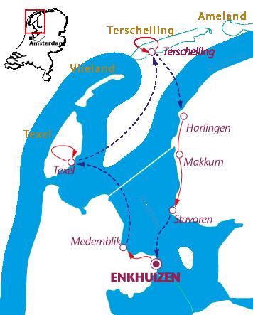 Routekaartje IJsselmeer en Wadden Fietsen en Zeilen