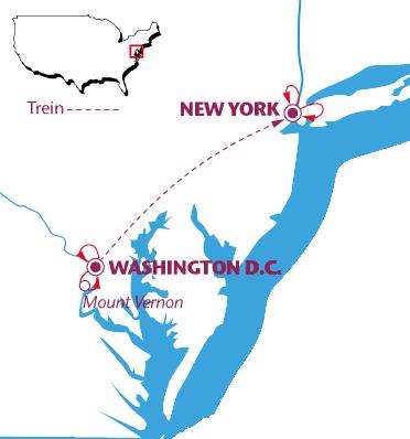 Routekaartje New York & Washington