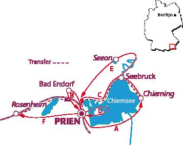 Routekaartje Prien am Chiemsee