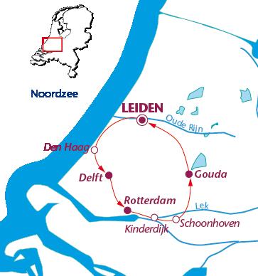 Routekaartje Zuid-Hollandse Hoogtepunten